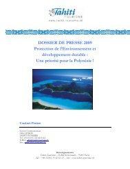 DOSSIER DE PRESSE 2009 Protection de l ... - Tahiti tourisme