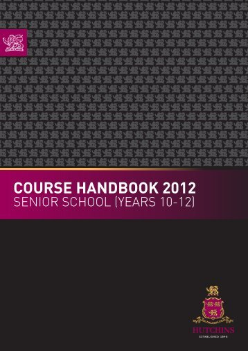 2012 SS 10-12 Course Handbook - What's On at Hutchins...