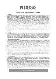 General Terms and Conditions of Purchase - Risco Group