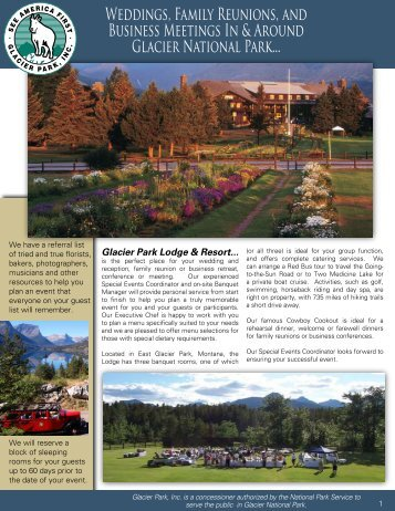 Weddings, Family Reunions, and Business ... - Glacier Park Inc.