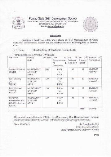 Rural Institute of Vocational Training Badal - Department of ...
