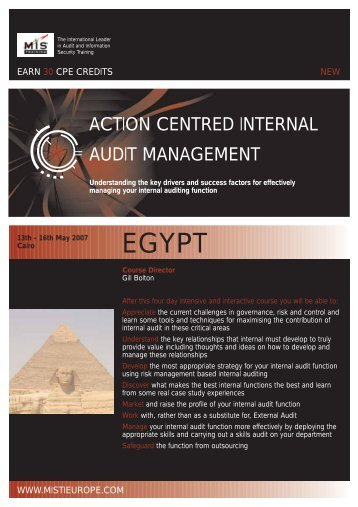 ACTION CENTRED INTERNAL AUDIT MANAGEMENT