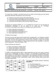 Exercícios de Biologia - Instituto Padre Machado