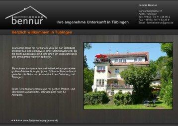 Ihre angenehme Unterkunft in Tübingen ... - Bennur Appartements