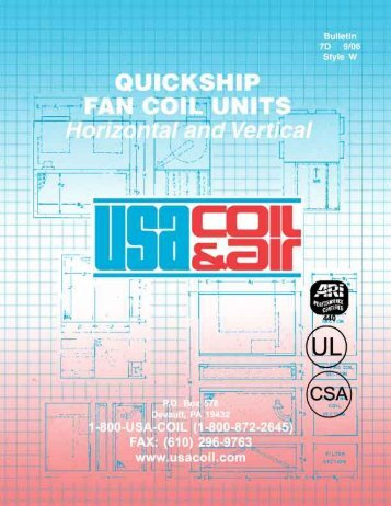 Horizontal Units with or without complete cabinets ... - USA Coil & Air
