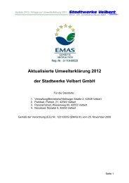 Umwelterklärung Update 2012 - Stadtwerke Velbert