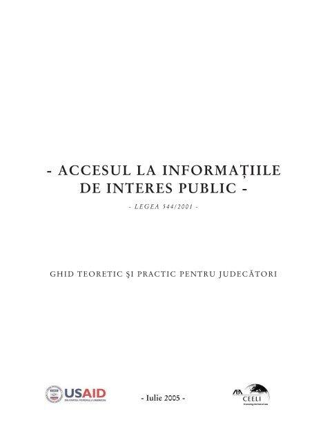 accesul la informaţiile de interes public - Institutul Naţional al ...