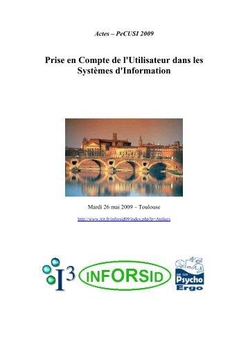 Actes PeCUSI 2009 - IUT Bayonne - Université de Pau et des Pays ...