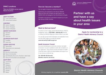 District Health Advisory Council brochure - WA Country Health Service