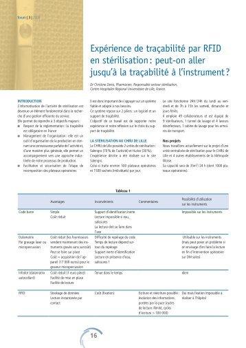 Expérience de traçabilité par RFID en stérilisation - Société Suisse ...