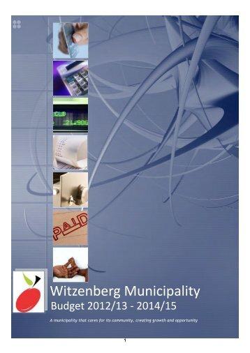 Adopted Budget 2012/2013 - Witzenberg Municipality