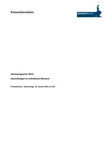Pressemappe Jahresprogramm 2014 - LehmbruckMuseum