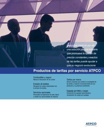 Productos de tarifas por servicio ATPCO