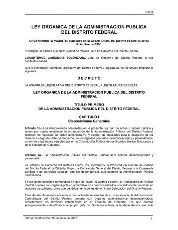 ley organica de la administracion publica del distrito federal - PAOT