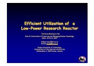 Efficient Utilization of a Low-Power Research Reactor - ENEN ...