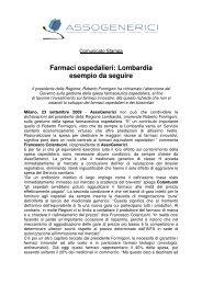 Farmaci ospedalieri: Lombardia esempio da seguire - Assogenerici