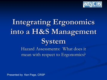 Ergonomics - CSSE Calgary Chapter - Canadian Society of Safety ...