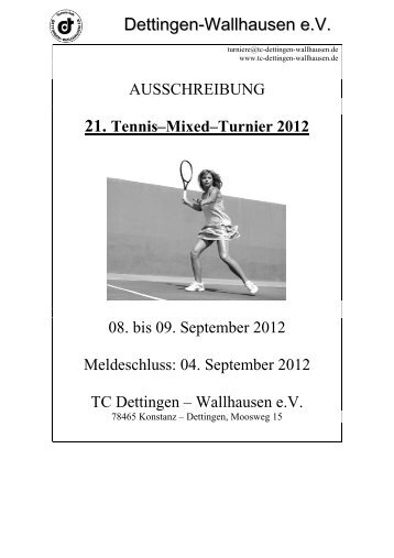 Ausschreibung Mixed Turnier - TC Dettingen-Wallhausen