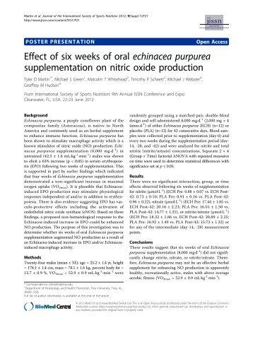 Effect of six weeks of oral echinacea purpurea supplementation on ...