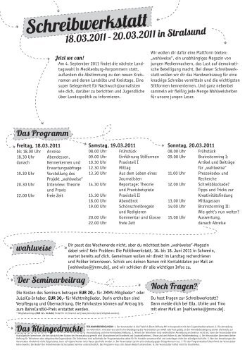 2011 Schreibwerkstatt.pdf - Jugendmedienverband Mecklenburg ...