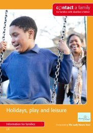 Holidays, play and leisure - Contact a Family