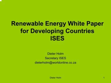 Renewable Energy White Paper for Developing Countries ISES