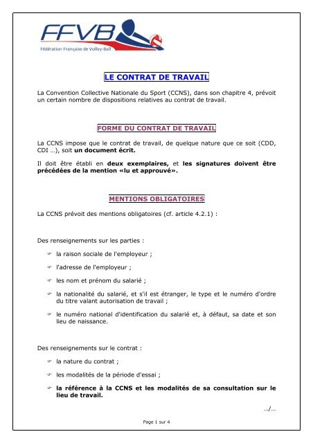 Le Contrat De Travail Extranet Ffvb