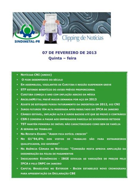 07 DE FEVEREIRO DE 2013 Quinta – feira - Sindimetal/PR