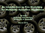 Lecture notes on tire modelling - University of Waterloo