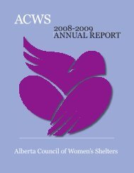 2008-2009 Annual Report - Alberta Council of Women's Shelters