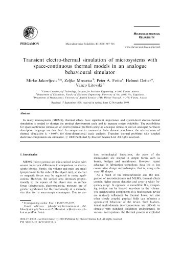 Transient electro-thermal simulation of microsystems with space ...