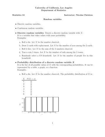 10. Discrete random variables - UCLA Statistics