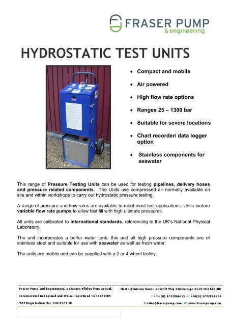 Hydrostatic Test Units 2012 - Fraser Pump