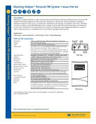 Hearing Helper™ Personal FM System • Model ... - Williams Sound