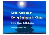 Legal Aspects of Doing Business in China - Fecomercio
