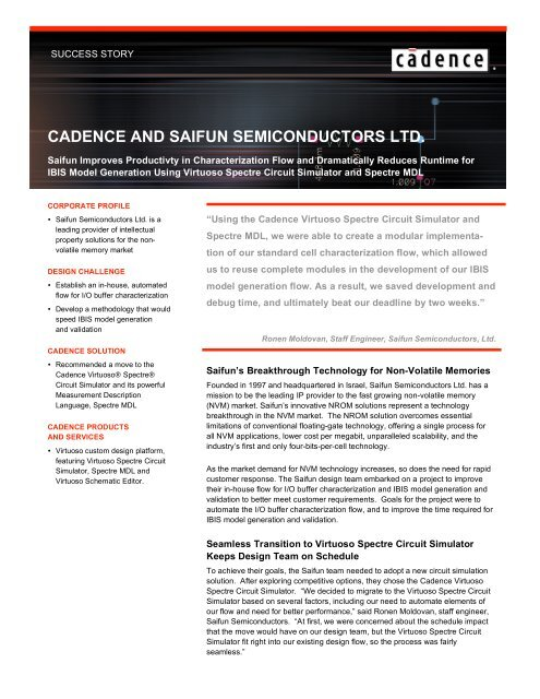 Download Pdf Success Story Cadence Cadence Design Systems