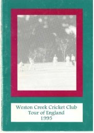 Weston Creek Cricket Club Tour of England