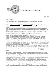 Plastics Newsletter – The Global Plastics - The Global Plastics Letter