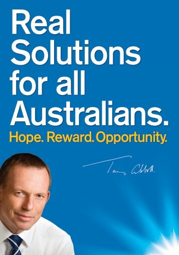 Real Solutions to get Australia back on track. - Liberal Party of ...