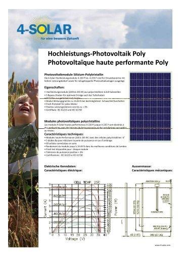 Hochleistungs-Photovoltaik Poly Photovoltaïque haute ... - 4-Solar