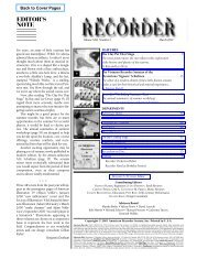 editor's note - American Recorder Society