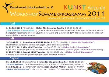KUNST Atelier WorkshopSommerprogramm 2011 - Kunstverein ...