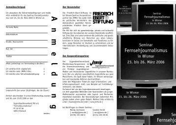 Anmeldung - Jugendmedienverband Mecklenburg Vorpommern  eV