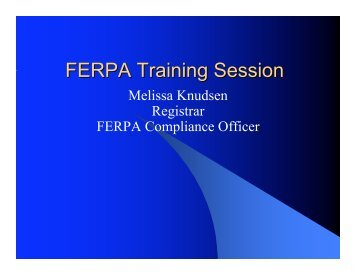 FERPA Training Session on MS PowerPoint