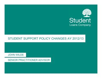STUDENT SUPPORT POLICY CHANGES AY 2012/13