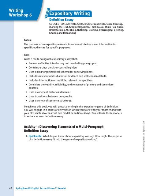 expository essay examples for middle school