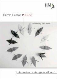 Batch Profile 2012-13 - IIM Ranchi