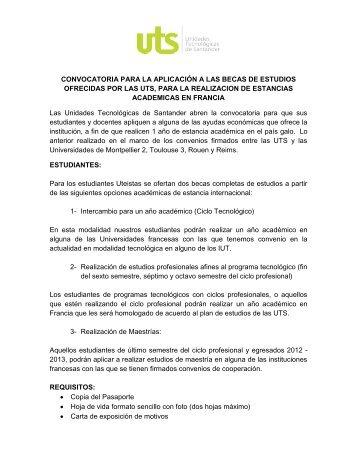 leer convocatoria adjunta - Unidades Tecnológicas de Santander UTS