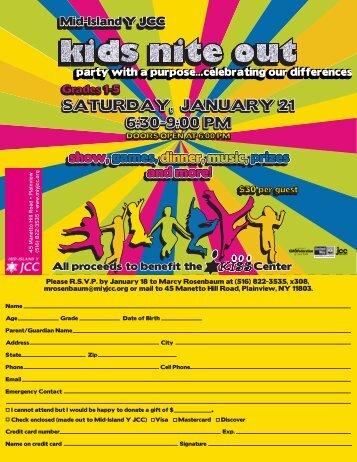 kids nite out invite 12 - Mid Island Y JCC