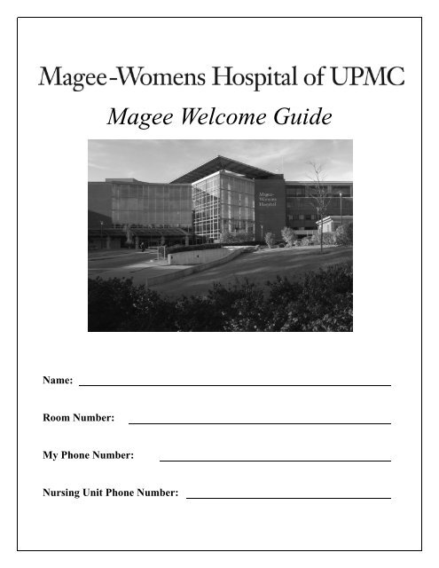 Magee Welcome Guide - UPMC com